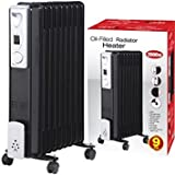 2000W 9 FIN PORTABLE OIL FILLED RADIATOR HEATER ELECTRICAL CARAVAN OFFICE HOME (BLACK)