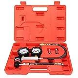 Cylinder Tester - SODIAL(R) Cylinder Tester Detector Engine Compression Leak-down Test Gauges Set & Red Case
