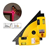 A-szcxtop Right Angle 90DegreeLaser Level Measuing Meter Square Vertical Horizontal Alignment Laser Line Projection Guide Tool for Home Outdoor Layout Tool W/Two Bubble Vials