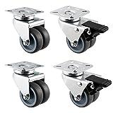 Hausee 4 x Casters 50mm TPR Swivel Castor Wheels Trolley Furniture Caster Heavy Duty 600kg (2 brakes)