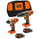 BLACK+DECKER 18 V Lithium-Ion Hammer Drill and 18 V Impact Driver with Storage Bag and 2 Batteries