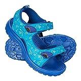 Mountain Warehouse Sand Boys Sandals - Neoprene Lining Kids Flip Flops, Durable Outsole Sandal Shoes, Velcro, Removable Heel Strap Childrens Footwear - for Beach Walking Blue 7 Child UK