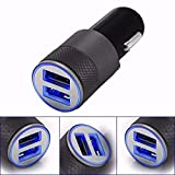 REALMAX in Car Charger Dual USB Port LED 2.1A 1.0A 12V For iPhone X 8 7 6 5 4 3 Plus iPad iPod Android Samsung Sony Xperia HTC Smart Phone Mobile GPS Satnav And More - Black -Silver-Gold (Black)