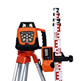 Linestorm SRL-105 Automatic Self Levelling Rotating Laser Level - For Interior and Exterior Use - Dual Slope - Comes With Tripod and 5M Staff