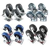 FIXKIT 4 x Heavy Duty Rubber Swivel Castor Wheels Trolley Load Capacity 25kg/each 50mm