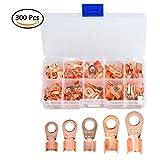 QLOUNI 70pcs Open Barrel Copper Ring Lug Terminals OT 10A-50A Wire Crimp Connectors Assortment Kit