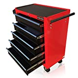US PRO TOOLS TOOL CHEST TOOL BOX ROLLER TOOL CABINET RED WITH BLACK DRAWERS