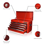 US PRO TOOLS TOOL BOX 6 DRAWER MOBILE TOOL CHEST PORTABLE TOOL CABINET RED BALL BEARING SLIDE DRAWERS