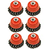 Wire Cup Brush Wheel 3inch for 4-1/2inch 115mm Angle Grinder Twist Knot 6 Pack TE243