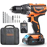 VonHaus Cordless Drill Driver with 2.0Ah Li-ion 20V MAX Battery, Charger, 13pc Bit Set & Power Tool Bag – Hammer Function, LED Work Light and Variable Speed Trigger (13mm Metal Alloy Chuck, 38Nm)