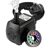 Submersible Pump, GOCHANGE Mini Electric Fountain Water Pump with 12 LED Light for Aquarium Fish Tank Fountain Pool Garden Pond UK Plug
