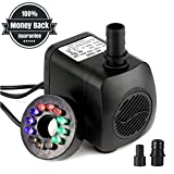15W 700L/H Submersible Water Pump with 12 Color LED Light for Fountain Pool Garden Pond Fish Tank Aquarium Water