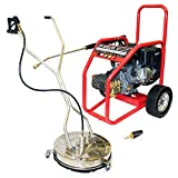 Kiam Driveway Cleaning Pack Warrior 3700P 13hp Industrial Petrol Pressure Washer (3700PSI @ 15 Ltr/Min), SurfacePro 21 Stainless Steel Rotary Floor Surface Cleaner, Turbo Rotary Nozzle - (High Jet Power Driveway Patio Car Block Paving Cleaner Kit)
