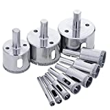 WElinks 10Pcs Diamond Drill Bits - Glass and Tile Hollow Coated Core Hole Saw Cutter Extractor Remover Sets for Ceramic Glass Marble Tile 6-50MM