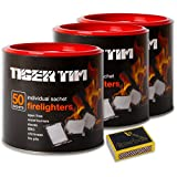 3 X Barrels of 50 Super Clean Long Lasting No Smell Sachet Tiger Tim Firelighters & Tigerbox Safety Matches