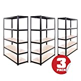 Garage Shelving Units: 180cm x 120cm x 45cm | Heavy Duty Racking Shelves for Storage - 3 Bay, Black 5 Tier (175KG Per Shelf), 875KG Capacity | For Workshop, Shed, Office | 5 Year Warranty