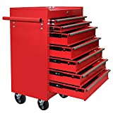 Popamazing Metal Tool Chest Cabinet with Lockable Drawers and Handle on Castors Wheels Red