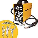 Wolf MIG130 Portable Turbo Mig Welder 230v DC No Gas Welding with Clamp Set - 2 Years Warranty