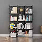 LANGRIA 12-Cube DIY Wire Grid Bookcase, Multi-Use Modular Storage Shelving Rack, Open Organiser Closet Cabinet for Books, Toys, Clothes, Tools, Max Capacity 20kg per Cube, Black