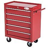 DURHAND 5 Drawer Roller Tool Cabinet Storage Box Workshop Chest Garage Wheeling Trolley w/Handle - Red