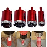 Hakkin Hole Saw Set, 4pcs 25mm 40mm 45mm 50mm Diamond Coated Hole Saw Cutter Drill Bits for Tiles Marble Glass Granite