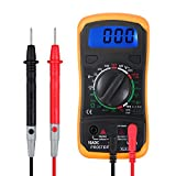 Digital Multimeter Portable Voltmeter Ammeter Ohmmeter with Test Leads Battery Mini Multi Tester Meter DMM with Backlight LCD for DC AC Voltage DC Current Resistance Diodes Transistor Audible Continuity