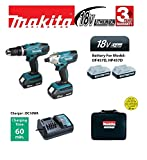 Makita 18V Cordless Twin Set - Combi Drill and Impact Driver (2 x Batteries)