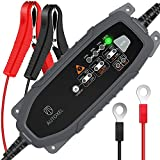 AUTOXEL Car Battery Charger, 3.8A 6V/12V 8 Modes Intelligent Automotive Battery Charger/Maintainer for Vehicles With CC/CV Control for LiFePO4 & Lead Acid Battery of Wet, MF, VRLA, AGM & GEL (Black)