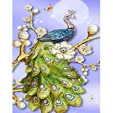 DIY 5D Full Drill Diamond Painting, Crystal Rhinestone Embroidery Pictures Arts Craft for Home Wall Decor Green Peacock 19.7 x 35.4 Inch