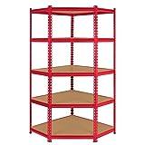 Z-Rax Corner Racking Garage Shelving/90cm x 183cm x 45cm Storage Racking Unit/5 Shelves MDF & Steel/1325kg capacity/265kg per shelf