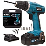 MYLEK 18V Cordless Drill Driver with LED Work Light - 13 Piece Accessory Kit with Carry Case - Forward / Reverse, Variable Speed & Quick Stop Function