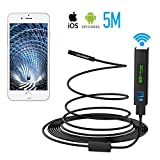 Wireless Snake Camera Pancellent WiFi Inspection Camera 1200P HD Endoscope with 8 LED Light Rigid Cable Borescope for iPhone Android Smartphone Table Ipad PC (16.5FT, Latest Version)