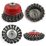 AllRight 4 Pcs Twist Knot Semi Flat Wire Wheel Cup Brush Set Kit To Fit 115mm Angle Grinder