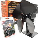 Cosystove 4 Blade Silent Heat Powered Wood Burning Multi-fuel Stove Fan Including Flue Pipe Thermometer Better Effiency Woodburner Plus New 2017 2018 Care Pack More Heat Save Money