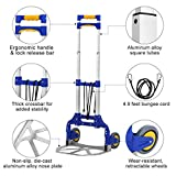 Finether 176.37 lbs Capacity Multi Functional Aluminum Alloy Folding Hand Truck and Dolly Trolley for Indoor Outdoor Travel Shopping Office, Blue