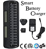 Union_linktech Smart Fast Battery Charger with LCD Display & 16 Slots For Ni-MH Ni-CD AA AAA Rechargeable Battery Charger,Intelligent and Universal 16 Bays/Banks Rechargeable Cells Charger (Batteries Not Included)