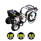 Kiam KM3400P 9hp Industrial Petrol Pressure Washer (3400PSI @ 15 Ltr/Min) High Jet Power Driveway Patio Car Block Paving Cleaner