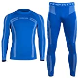 Norde Men's Functional Thermal Underwear Breathable Active Base Layer SET (Blue, L)