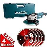 Makita GA9020KD 9inch/230mm Angle Grinder 240V With Case + Extra 4 Diamond Blades