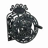 Elegant Floral Verdigris Patina Wall Mounted Cast Iron Hose Reel