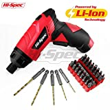 Hi-Spec 3.6V 1300mAh Li-ion Cordless Electric Power Screwdriver with 38 Piece Drill & Screwdriver Bit Set. Novel Twist-Change Grip Position, 8 Torque Settings & LED for DIY Repairs, Assembly & Maintenance in the Home, Workplace and Garage