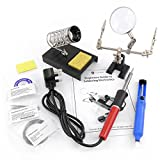 9 Piece 40w Soldering Iron Kit, Helping Hands, Desolder & Stand. Extra Pointed & Chisel Solder Tips, Spare Sponge & Solder & Beginners guide to soldering.
