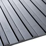 4m x 2m | Black Wide Ribbed Rubber Garage Flooring Matting | 3mm Thick Floor Roll | Mat Suitable for Gym, Stable, Playground etc | 13ft 1' x 6ft 6' | 157' x 80 Inches | 400 x 200cm