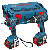 Bosch 0615990FN4 Professional GSB L-Boxx 18 V-LI Combi Drill and GDR 18 V-LI Impact Driver with Two 18 V 4.0 Ah Lithium-Ion Batteries