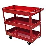 vidaXL 3-Shelf Rolling Red Shop Utility Tray Tool Cart Mechanic Tool Cart Trolley