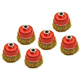 Wire Cup Brush / Wheel for Angle Grinder Crimped Brass Coated (6 Pack) TE331