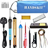Soldering Iron Kit, 60W 220V Adjustable Temperature Soldering-iron Gun Kit Welding Soldering Tool with 5 Soldering Tips, Desoldering Pump, Tin Wire Tube, Soldering Iron Stand, Tweezers, Wire Stripper Cutter, Screwdriver, Electronic Wire