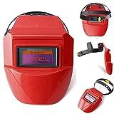Professional Welding Helmet Welders Protective Arc Tig Mig Grinding Welder Mask Face Protector Safety Gear (Red)