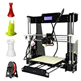 3D Printer, LESHP High Precision Desktop Prusa i3 3D Printer with All Metal MK8 Extruder Nozzle Dual Air Vents, Acrylic Frame LCD Screen 220*220*240mm Personal DIY 3D Printing Printer Machine, with Detailed Video with 8GB SD Card Support ABS/PLA/HIP/PP/Wood Filament