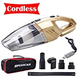 EFORCAR Car Vacuum Cleaner, Cordless Wet/Dry Vacuum Cleaner with 2200mAH Rechargeable Battery, 3KPA Powerful Suction Hand-held Vacuum Cleaner with Carry Bag(12V 100W Gold)